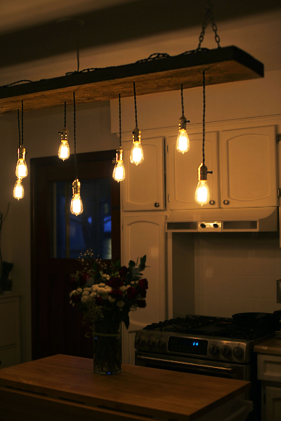 Diy reclaimed lumber hanging edison bulb chandelier unmaintained finished fixture aloadofball Image collections