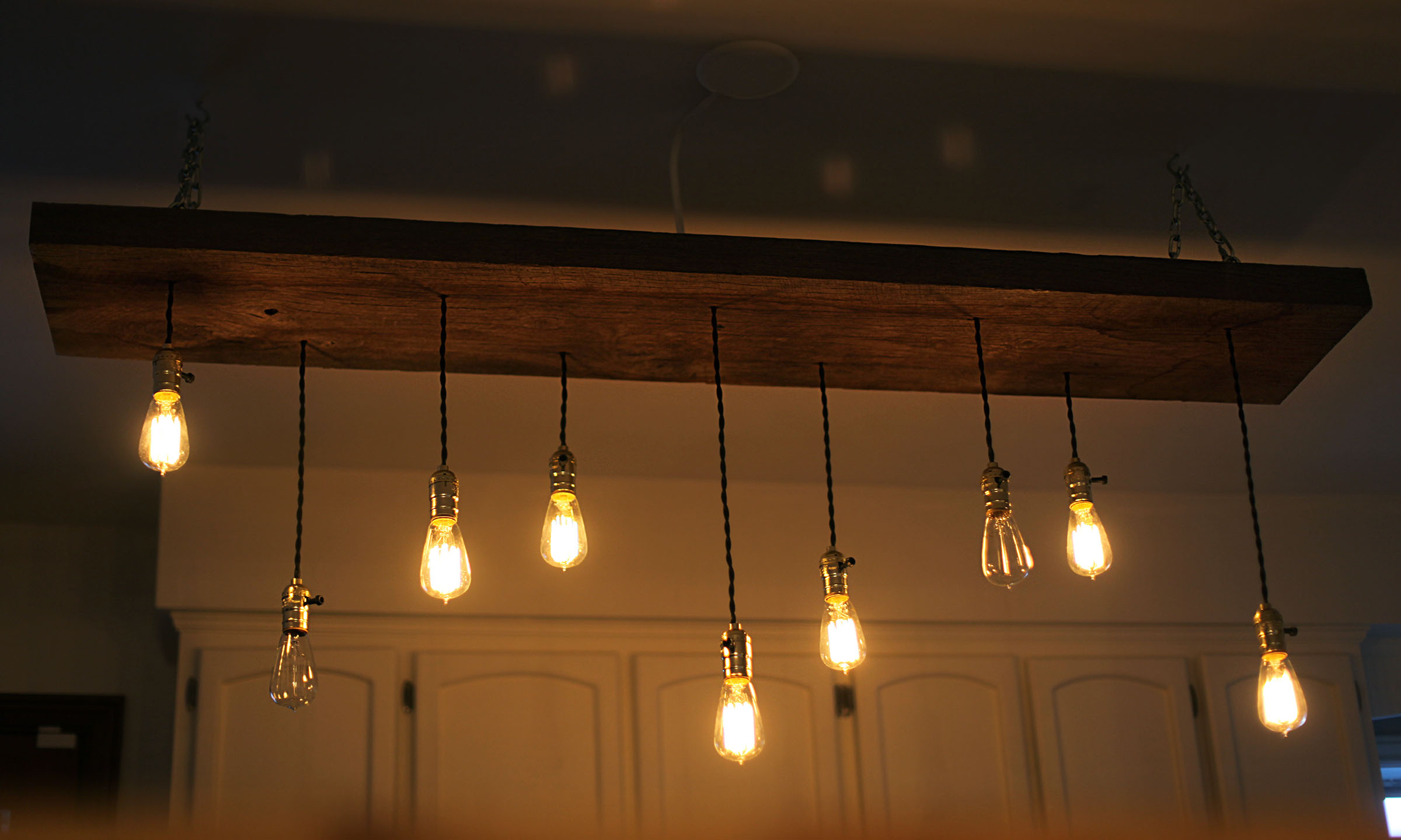 Diy reclaimed lumber hanging edison bulb chandelier unmaintained placing junction boxes wiring lights arubaitofo Images